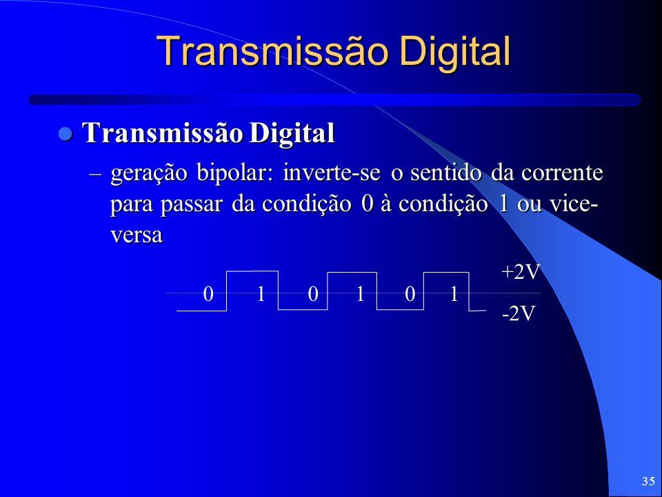 35 Transmissão Digital Transmissão Digital Transmissão Digital – geração bipolar: inverte-se o sentido da corrente para passar da condição 0 à condiçã