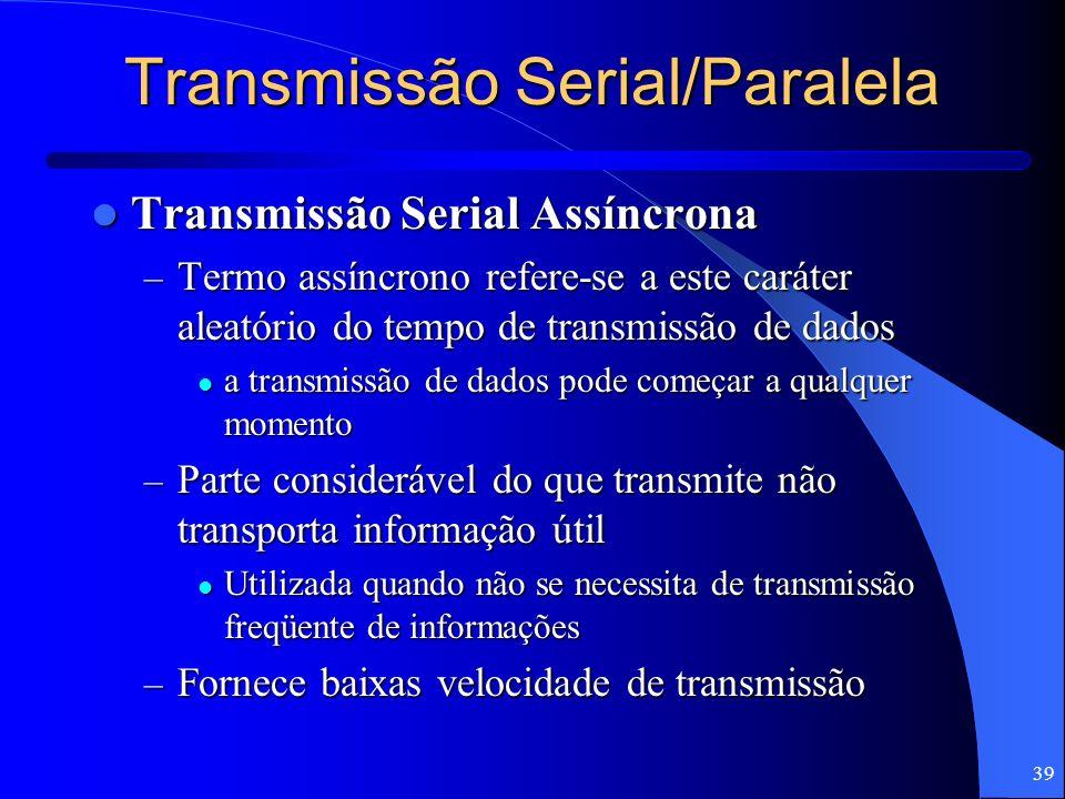 39 Transmissão Serial/Paralela Transmissão Serial Assíncrona Transmissão Serial Assíncrona – Termo assíncrono refere-se a este caráter aleatório do te
