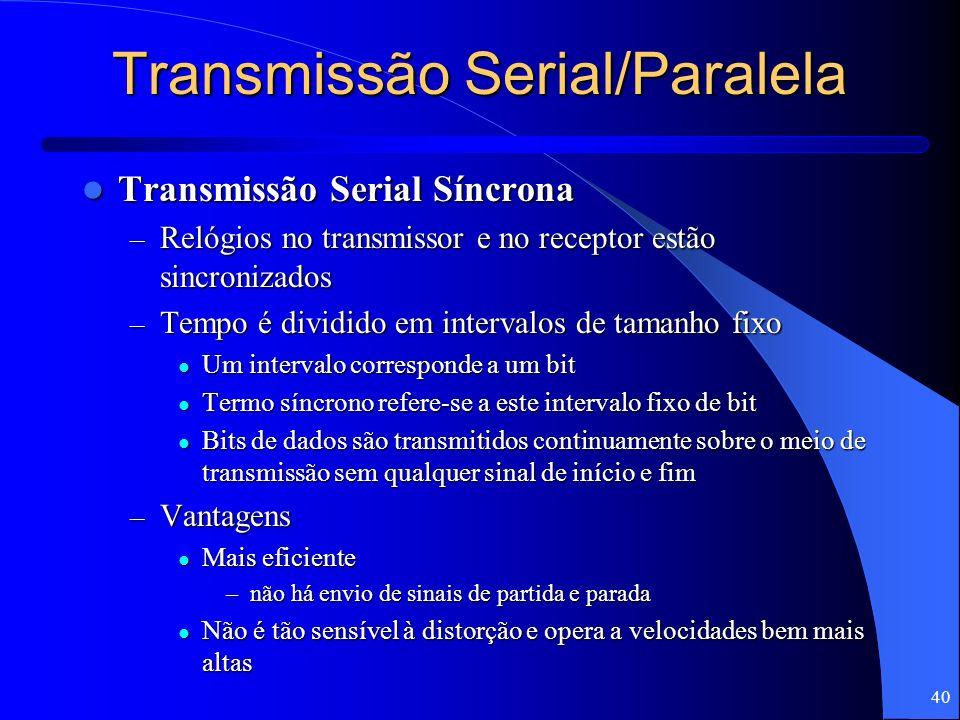 40 Transmissão Serial/Paralela Transmissão Serial Síncrona Transmissão Serial Síncrona – Relógios no transmissor e no receptor estão sincronizados – T