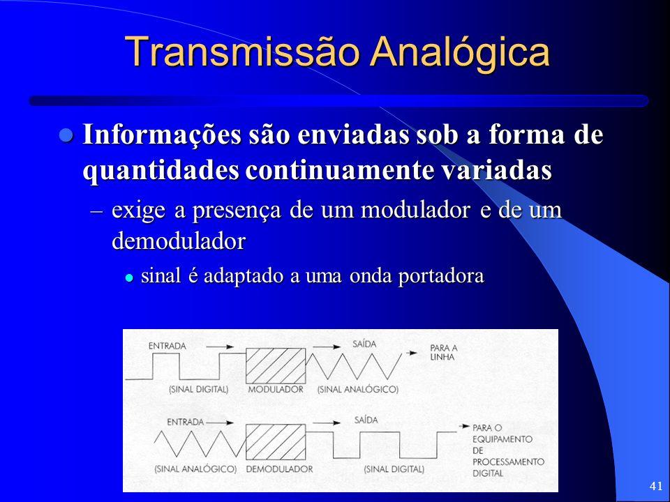 41 Transmissão Analógica Informações são enviadas sob a forma de quantidades continuamente variadas Informações são enviadas sob a forma de quantidade