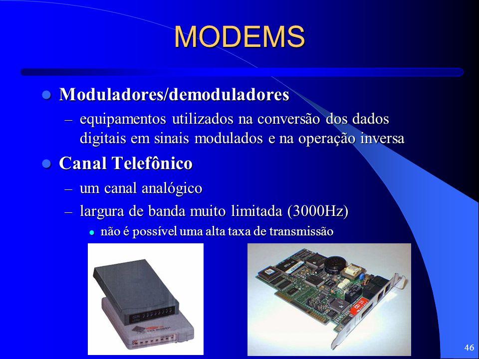 46 MODEMS Moduladores/demoduladores Moduladores/demoduladores – equipamentos utilizados na conversão dos dados digitais em sinais modulados e na opera