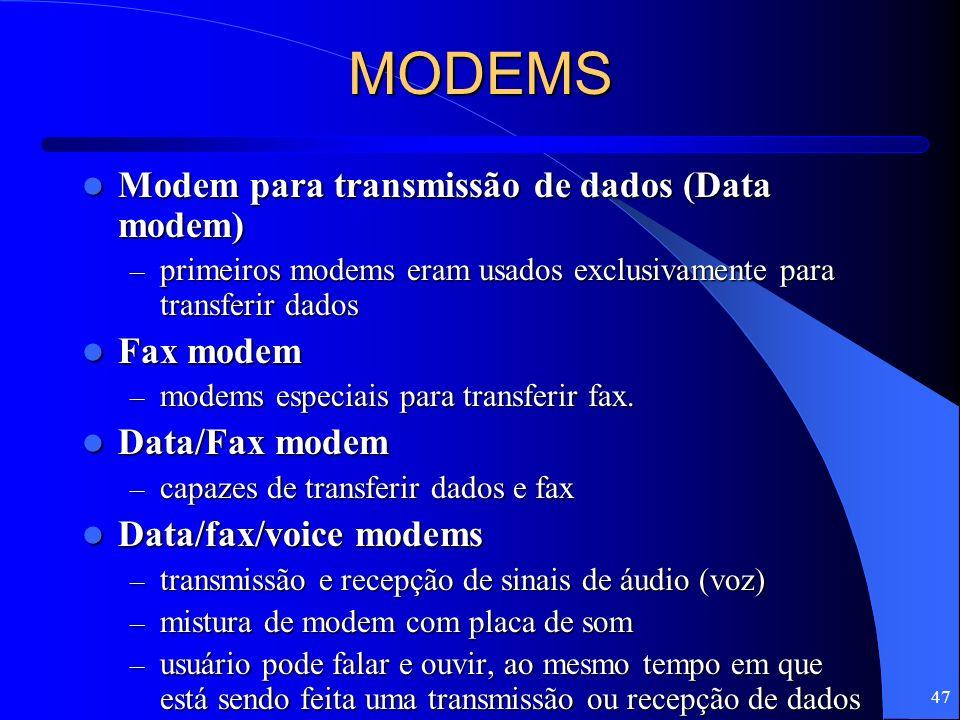 47 MODEMS Modem para transmissão de dados (Data modem) Modem para transmissão de dados (Data modem) – primeiros modems eram usados exclusivamente para