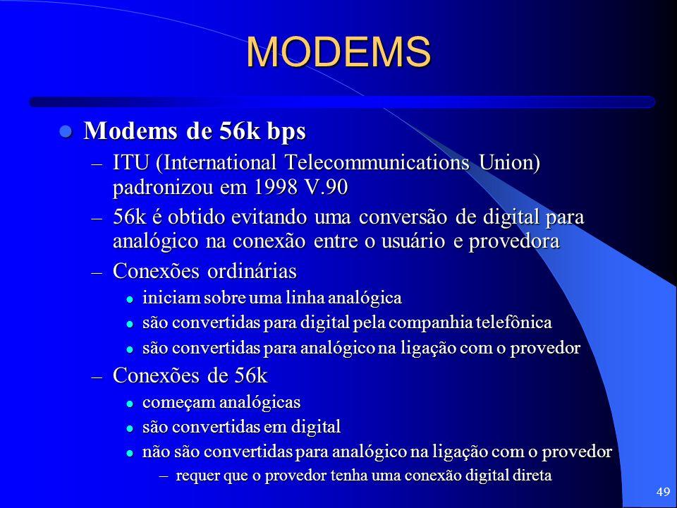 49 MODEMS Modems de 56k bps Modems de 56k bps – ITU (International Telecommunications Union) padronizou em 1998 V.90 – 56k é obtido evitando uma conve