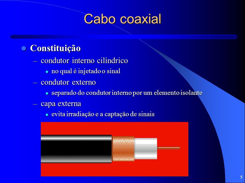 5 Cabo coaxial Constituição Constituição – condutor interno cilíndrico no qual é injetado o sinal no qual é injetado o sinal – condutor externo separa