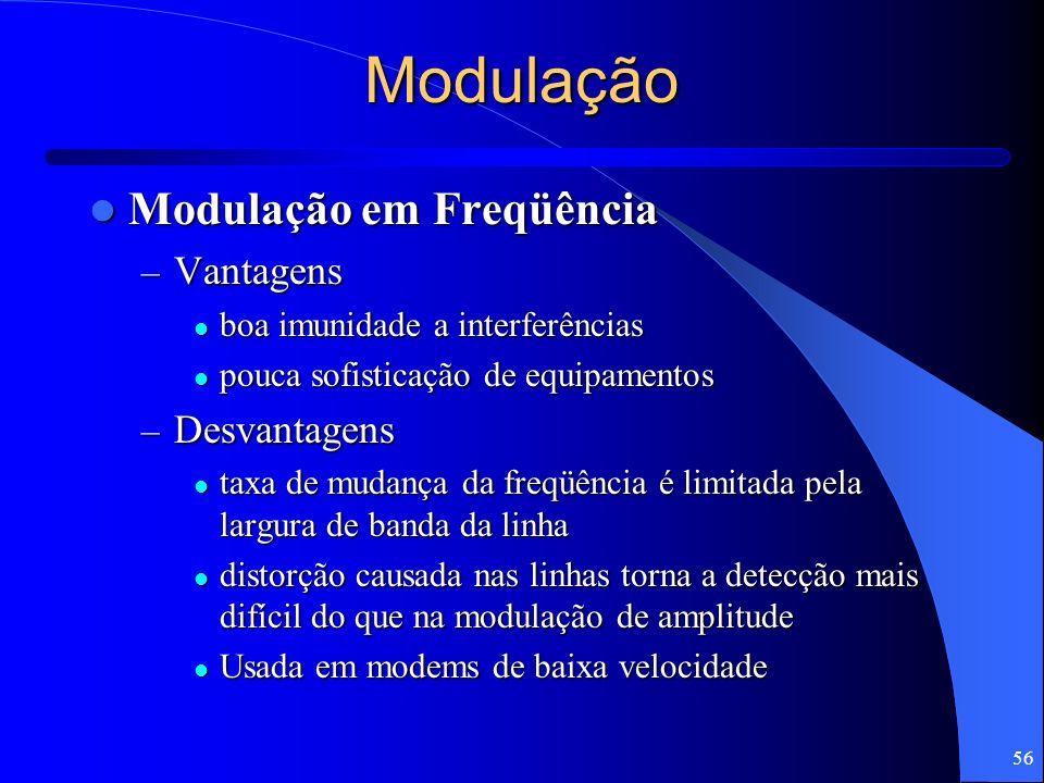 56 Modulação Modulação em Freqüência Modulação em Freqüência – Vantagens boa imunidade a interferências boa imunidade a interferências pouca sofistica