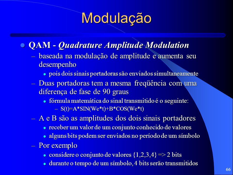 66 Modulação QAM - Quadrature Amplitude Modulation QAM - Quadrature Amplitude Modulation – baseada na modulação de amplitude e aumenta seu desempenho