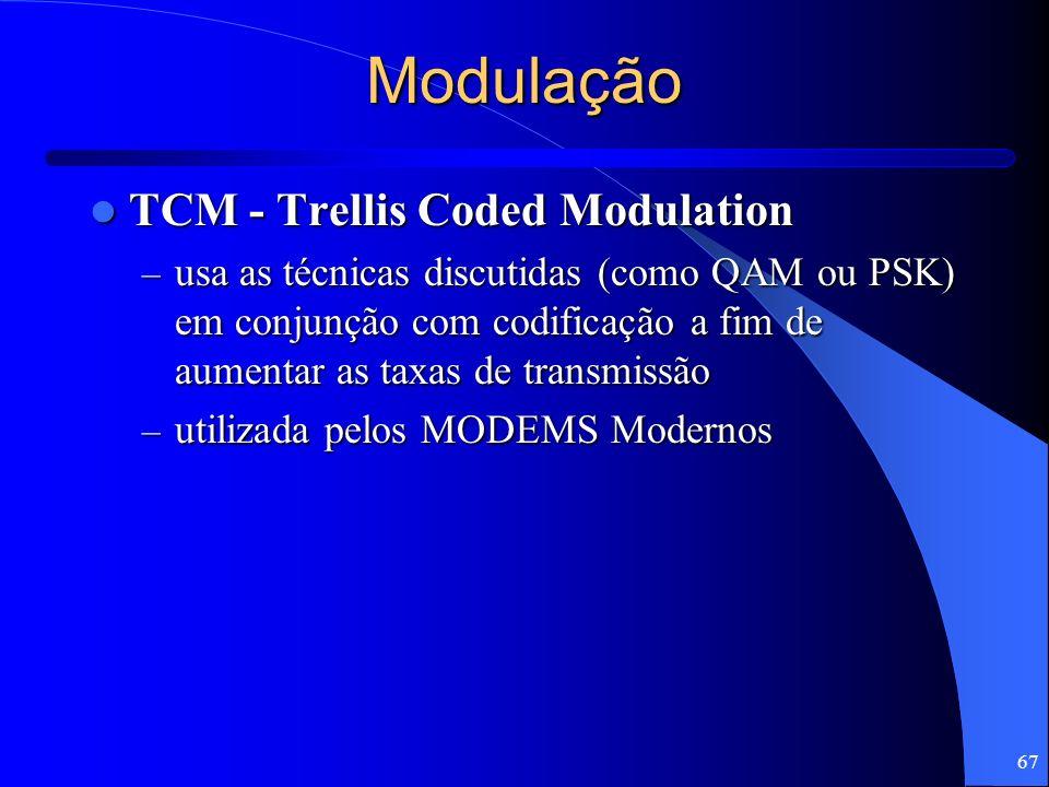 67 Modulação TCM - Trellis Coded Modulation TCM - Trellis Coded Modulation – usa as técnicas discutidas (como QAM ou PSK) em conjunção com codificação