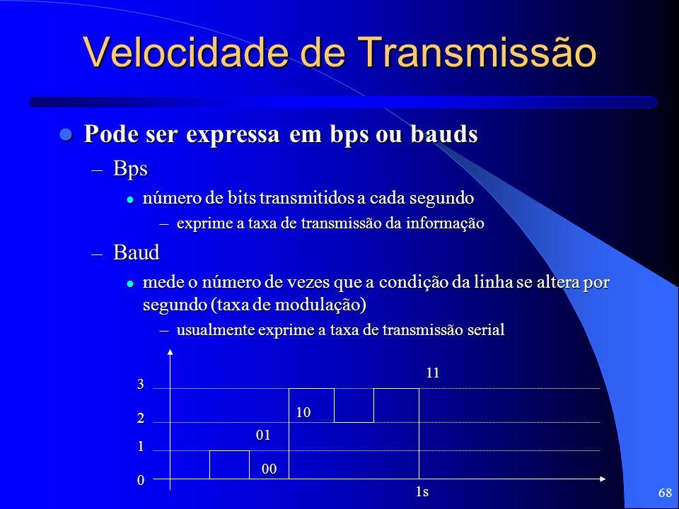 68 Velocidade de Transmissão Pode ser expressa em bps ou bauds Pode ser expressa em bps ou bauds – Bps número de bits transmitidos a cada segundo núme