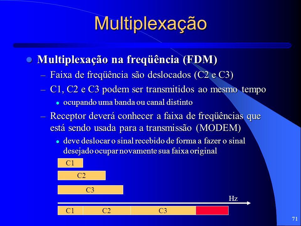 71 Multiplexação Multiplexação na freqüência (FDM) Multiplexação na freqüência (FDM) – Faixa de freqüência são deslocados (C2 e C3) – C1, C2 e C3 pode