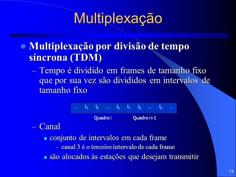 73 I1I1 I2I2...InIn I1I1 I2I2 InIn Quadro iQuadro i+1 Multiplexação Multiplexação por divisão de tempo síncrona (TDM) Multiplexação por divisão de tem