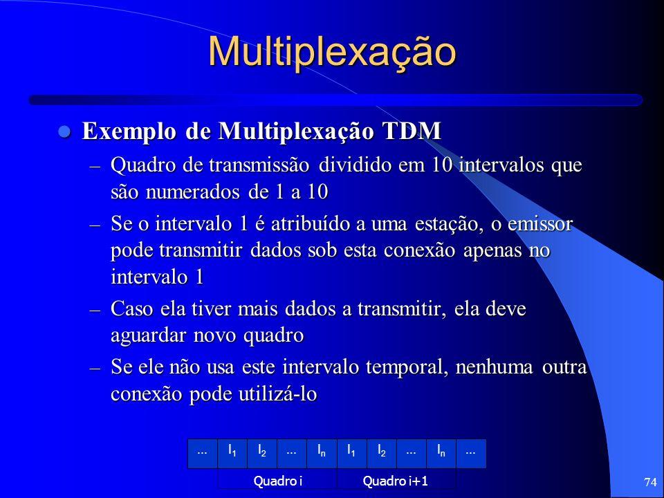 74 Multiplexação Exemplo de Multiplexação TDM Exemplo de Multiplexação TDM – Quadro de transmissão dividido em 10 intervalos que são numerados de 1 a