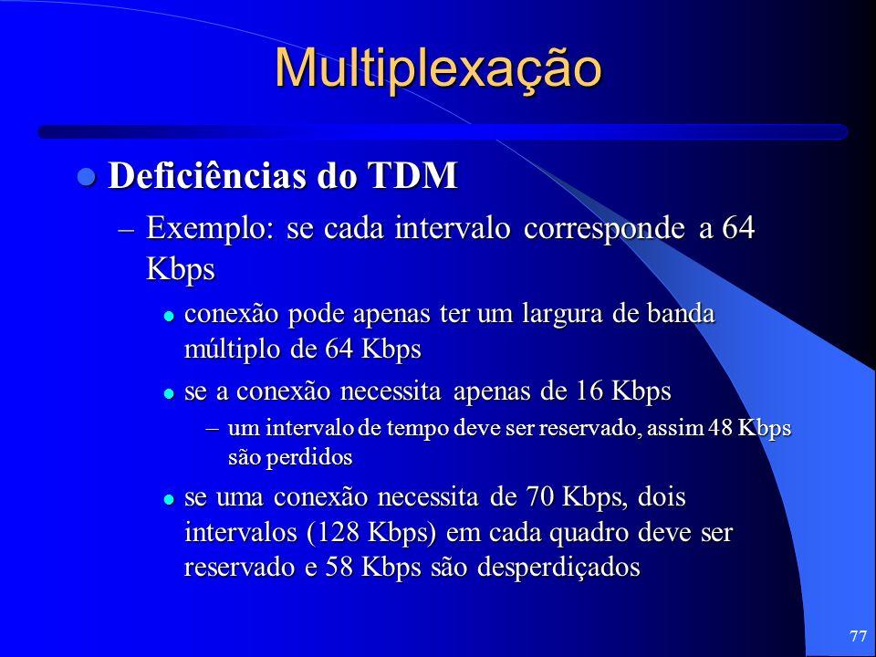 77 Multiplexação Deficiências do TDM Deficiências do TDM – Exemplo: se cada intervalo corresponde a 64 Kbps conexão pode apenas ter um largura de band