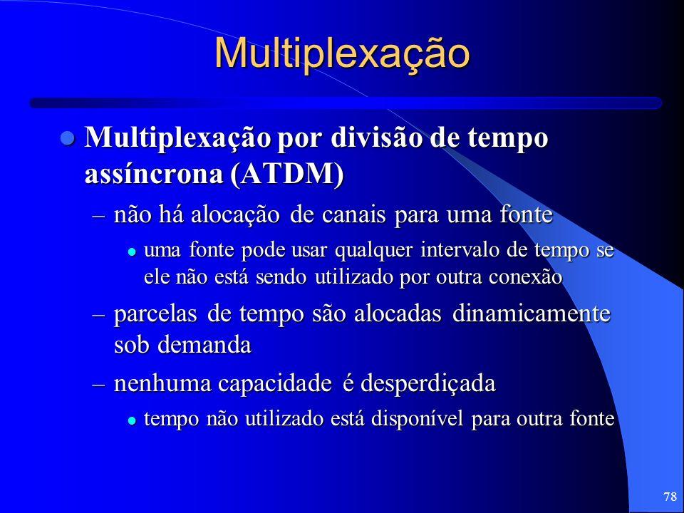 78 Multiplexação Multiplexação por divisão de tempo assíncrona (ATDM) Multiplexação por divisão de tempo assíncrona (ATDM) – não há alocação de canais