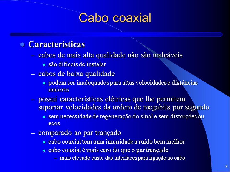 8 Cabo coaxial Características Características – cabos de mais alta qualidade não são maleáveis são difíceis de instalar são difíceis de instalar – ca