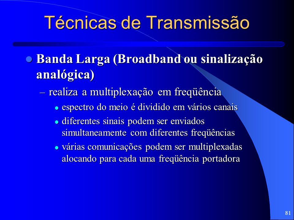 81 Técnicas de Transmissão Banda Larga (Broadband ou sinalização analógica) Banda Larga (Broadband ou sinalização analógica) – realiza a multiplexação