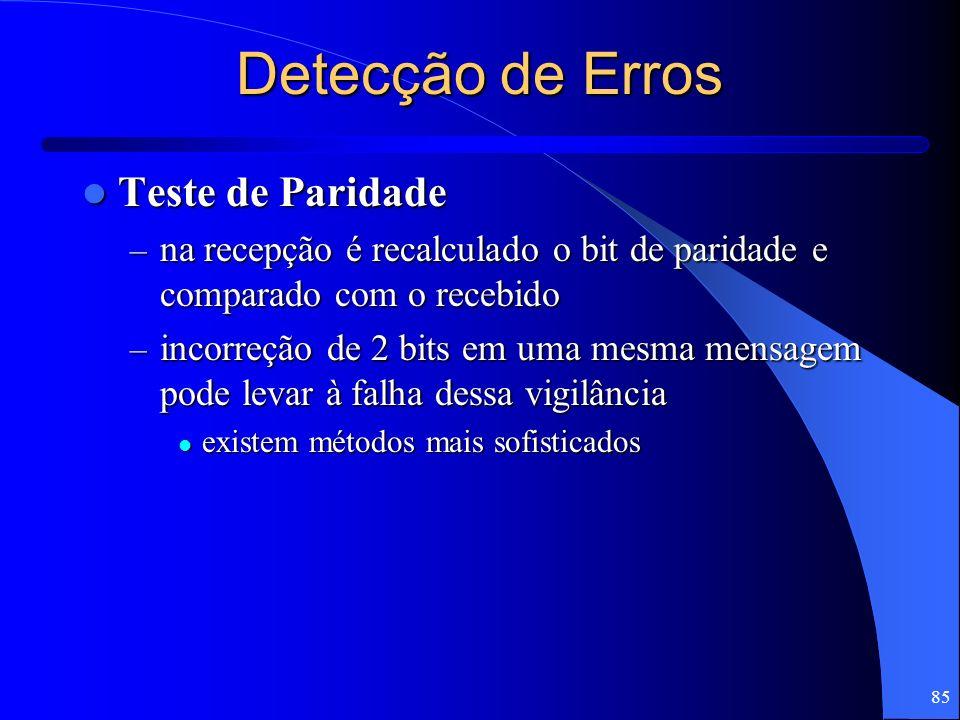 85 Detecção de Erros Teste de Paridade Teste de Paridade – na recepção é recalculado o bit de paridade e comparado com o recebido – incorreção de 2 bi