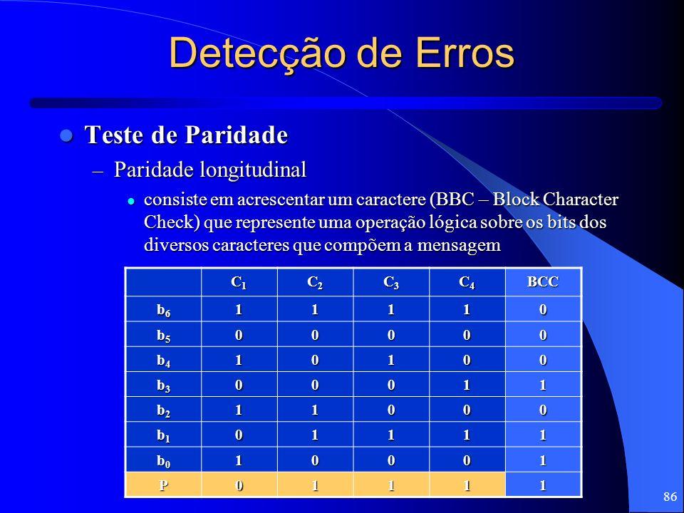 86 Detecção de Erros Teste de Paridade Teste de Paridade – Paridade longitudinal consiste em acrescentar um caractere (BBC – Block Character Check) qu
