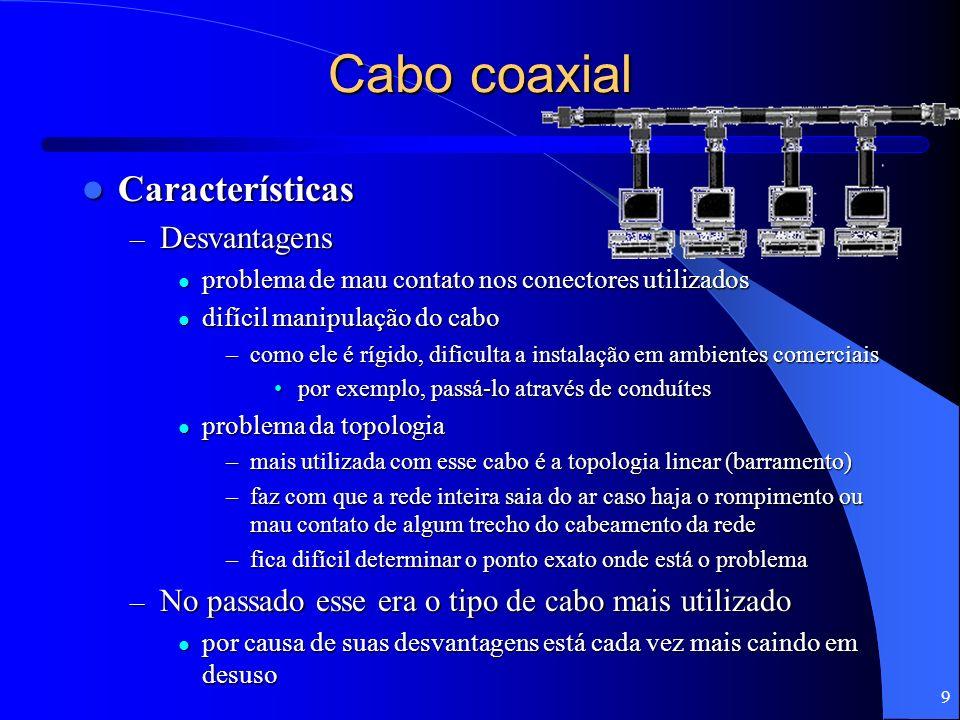 10 Cabo coaxial Cabo coaxial para redes Ethernet Cabo coaxial para redes Ethernet – Cabo coaxial usado em rede possui impedância de 50 ohms cabo coaxial utilizado em sistemas de antena de TV possui impedância de 75 ohms cabo coaxial utilizado em sistemas de antena de TV possui impedância de 75 ohms – Existem dois tipos básicos de cabo coaxial fino (10Base2) e grosso (10Base5) fino (10Base2) e grosso (10Base5)