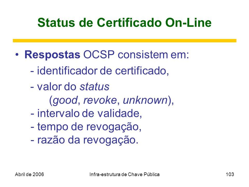 Abril de 2006Infra-estrutura de Chave Pública103 Status de Certificado On-Line Respostas OCSP consistem em: - identificador de certificado, - valor do