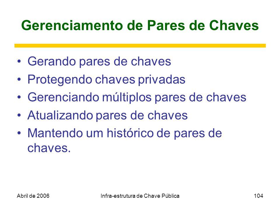 Abril de 2006Infra-estrutura de Chave Pública104 Gerenciamento de Pares de Chaves Gerando pares de chaves Protegendo chaves privadas Gerenciando múlti