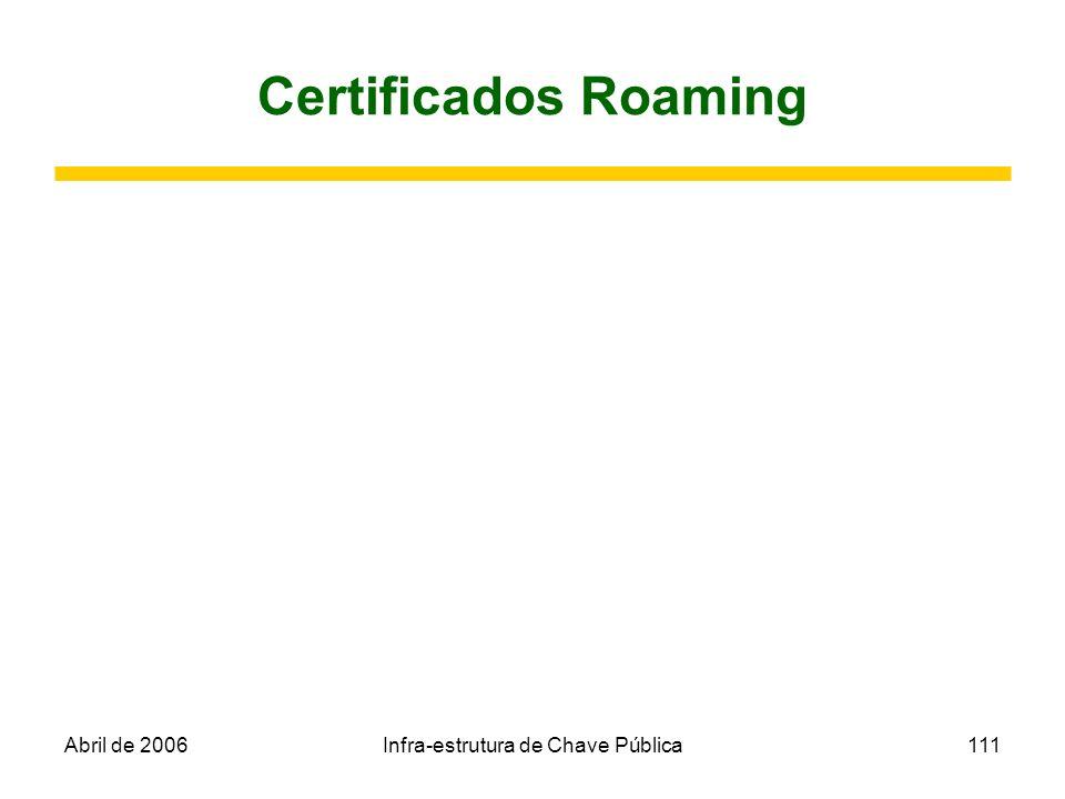 Abril de 2006Infra-estrutura de Chave Pública111 Certificados Roaming