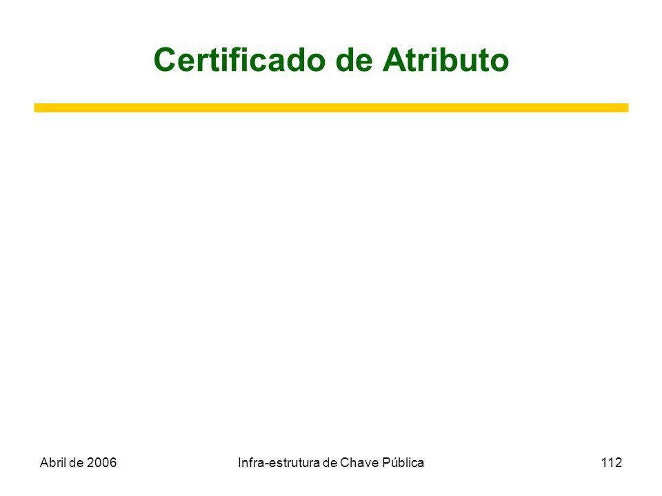 Abril de 2006Infra-estrutura de Chave Pública112 Certificado de Atributo