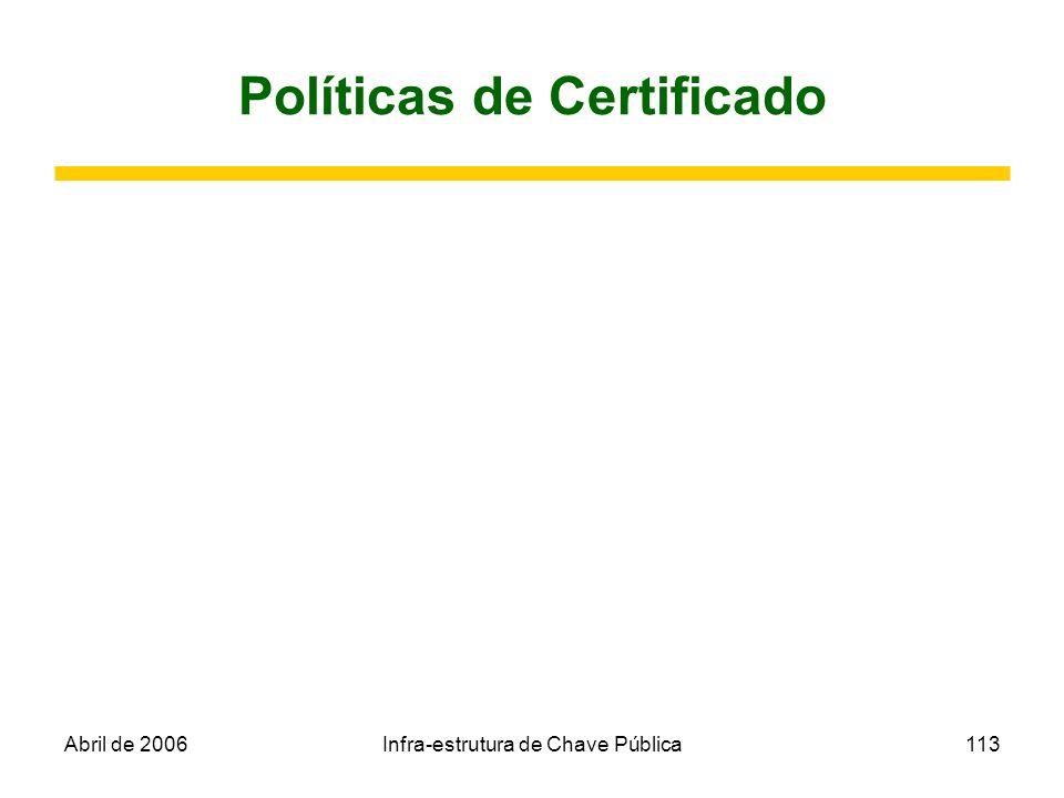 Abril de 2006Infra-estrutura de Chave Pública113 Políticas de Certificado