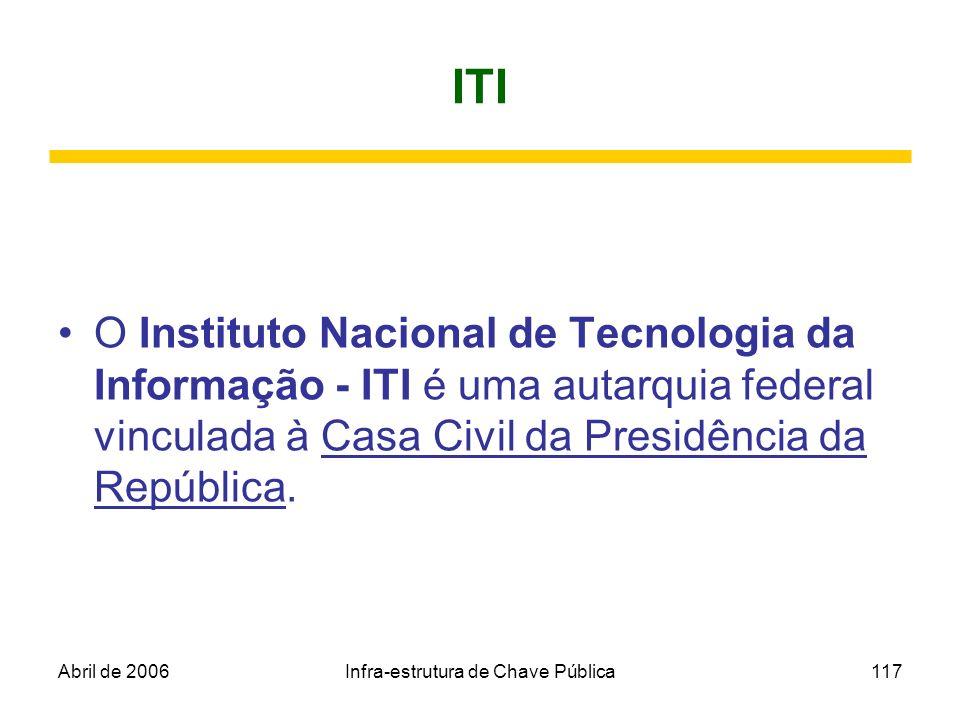 Abril de 2006Infra-estrutura de Chave Pública117 ITI O Instituto Nacional de Tecnologia da Informação - ITI é uma autarquia federal vinculada à Casa C