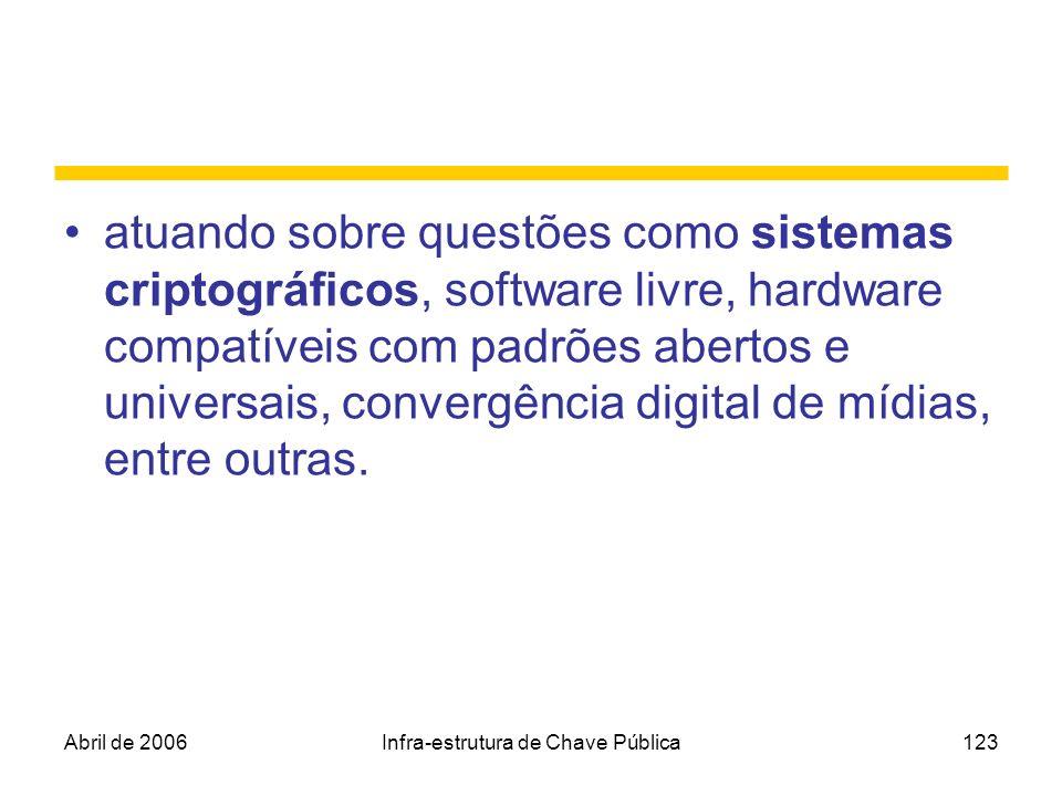Abril de 2006Infra-estrutura de Chave Pública123 atuando sobre questões como sistemas criptográficos, software livre, hardware compatíveis com padrões