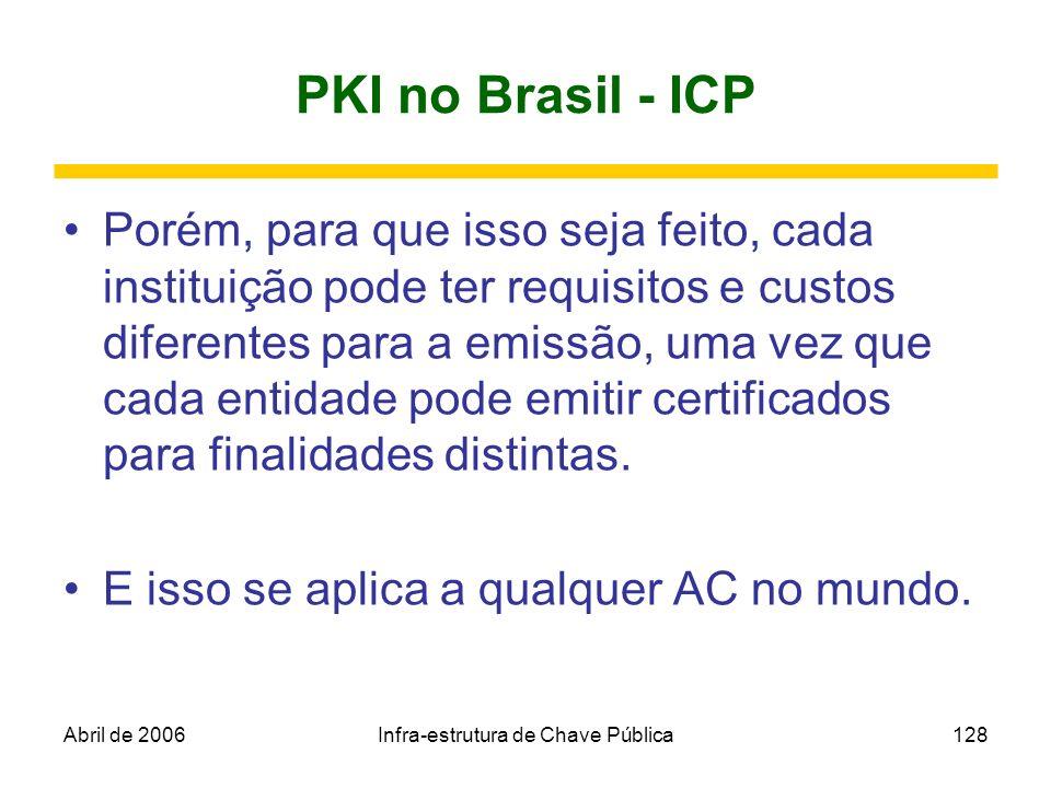 Abril de 2006Infra-estrutura de Chave Pública128 PKI no Brasil - ICP Porém, para que isso seja feito, cada instituição pode ter requisitos e custos di