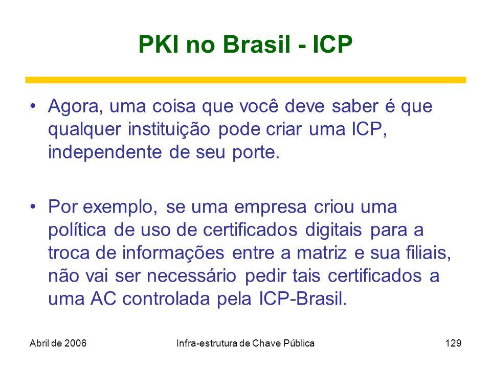 Abril de 2006Infra-estrutura de Chave Pública129 PKI no Brasil - ICP Agora, uma coisa que você deve saber é que qualquer instituição pode criar uma IC