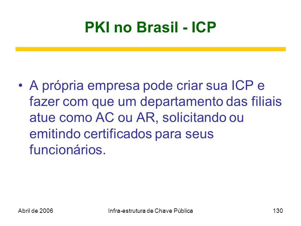 Abril de 2006Infra-estrutura de Chave Pública130 PKI no Brasil - ICP A própria empresa pode criar sua ICP e fazer com que um departamento das filiais