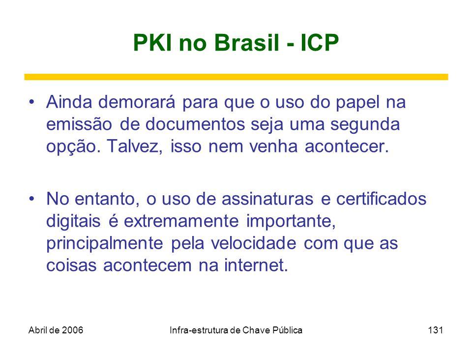 Abril de 2006Infra-estrutura de Chave Pública131 PKI no Brasil - ICP Ainda demorará para que o uso do papel na emissão de documentos seja uma segunda