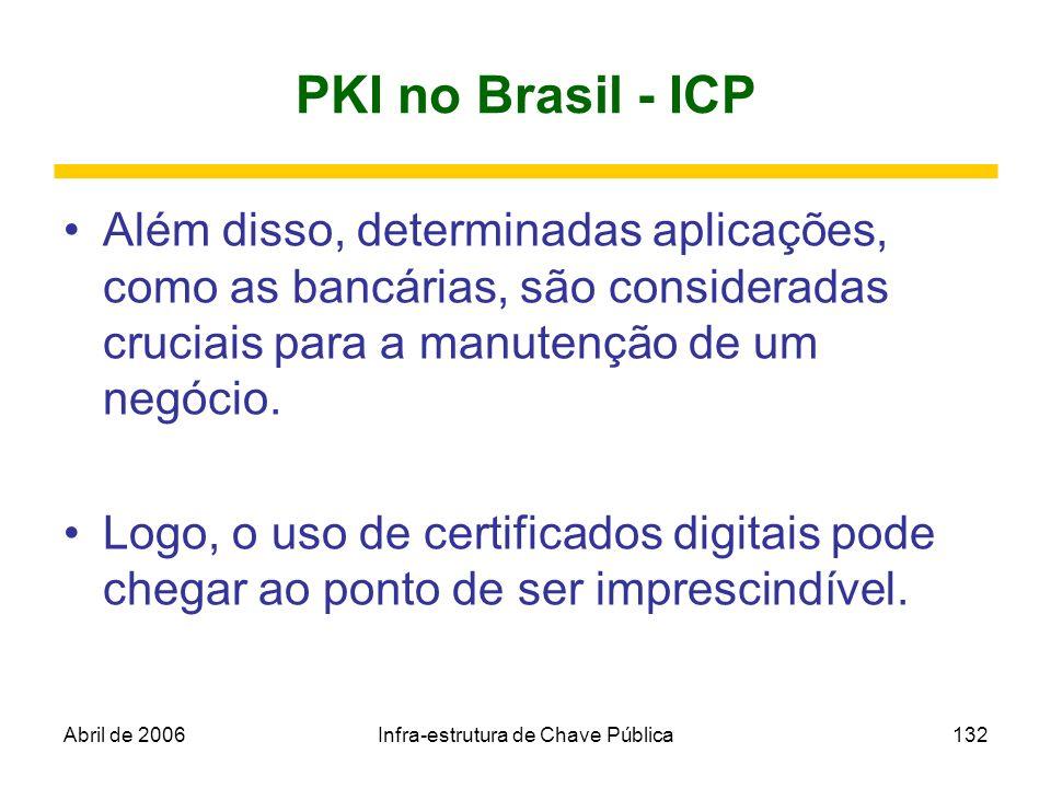 Abril de 2006Infra-estrutura de Chave Pública132 PKI no Brasil - ICP Além disso, determinadas aplicações, como as bancárias, são consideradas cruciais