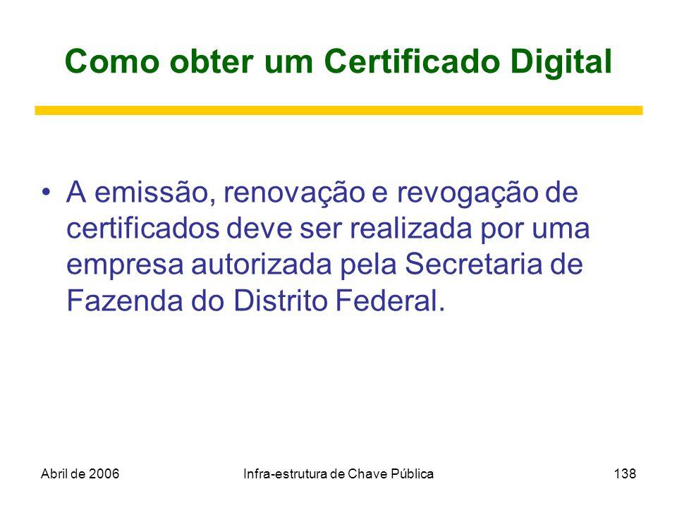 Abril de 2006Infra-estrutura de Chave Pública138 Como obter um Certificado Digital A emissão, renovação e revogação de certificados deve ser realizada