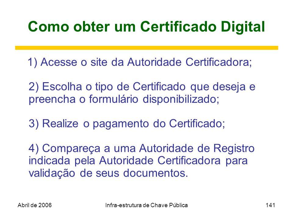 Abril de 2006Infra-estrutura de Chave Pública141 Como obter um Certificado Digital 1) Acesse o site da Autoridade Certificadora; 2) Escolha o tipo de