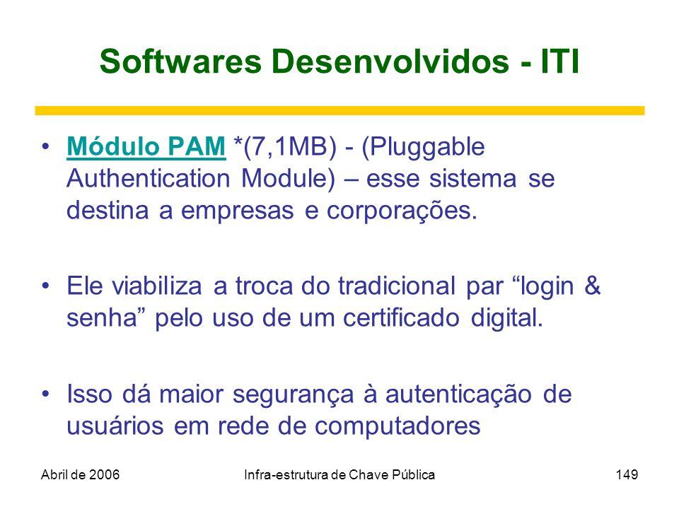 Abril de 2006Infra-estrutura de Chave Pública149 Softwares Desenvolvidos - ITI Módulo PAM *(7,1MB) - (Pluggable Authentication Module) – esse sistema