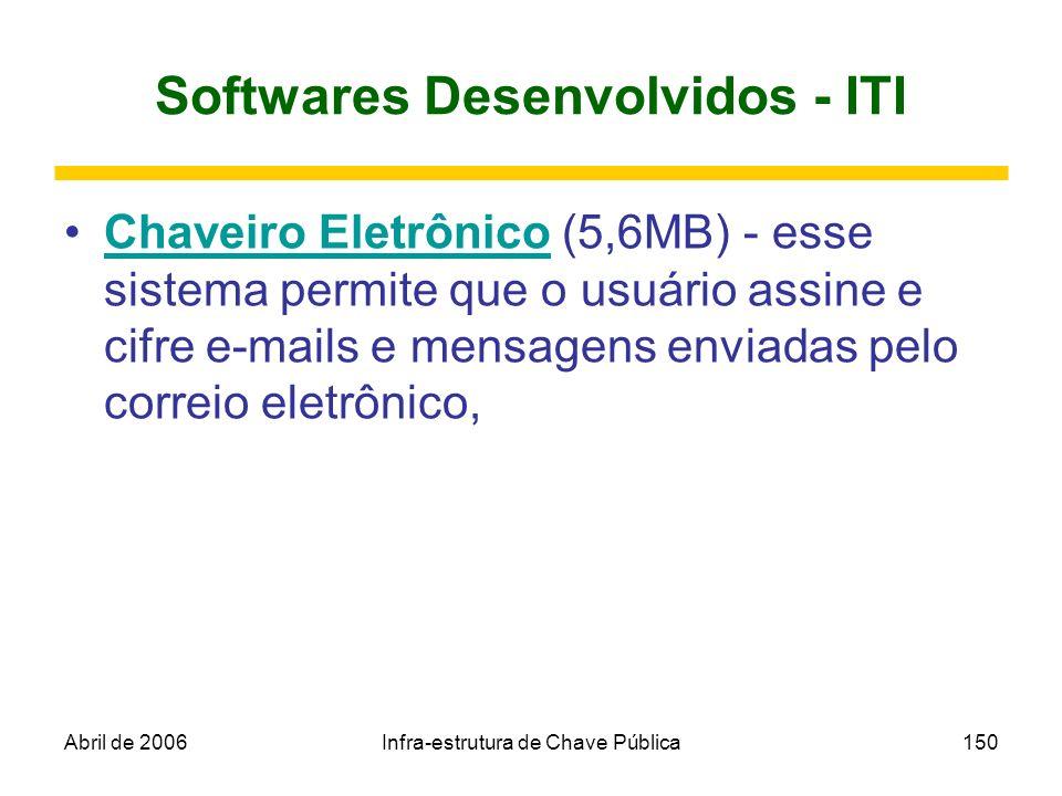 Abril de 2006Infra-estrutura de Chave Pública150 Softwares Desenvolvidos - ITI Chaveiro Eletrônico (5,6MB) - esse sistema permite que o usuário assine