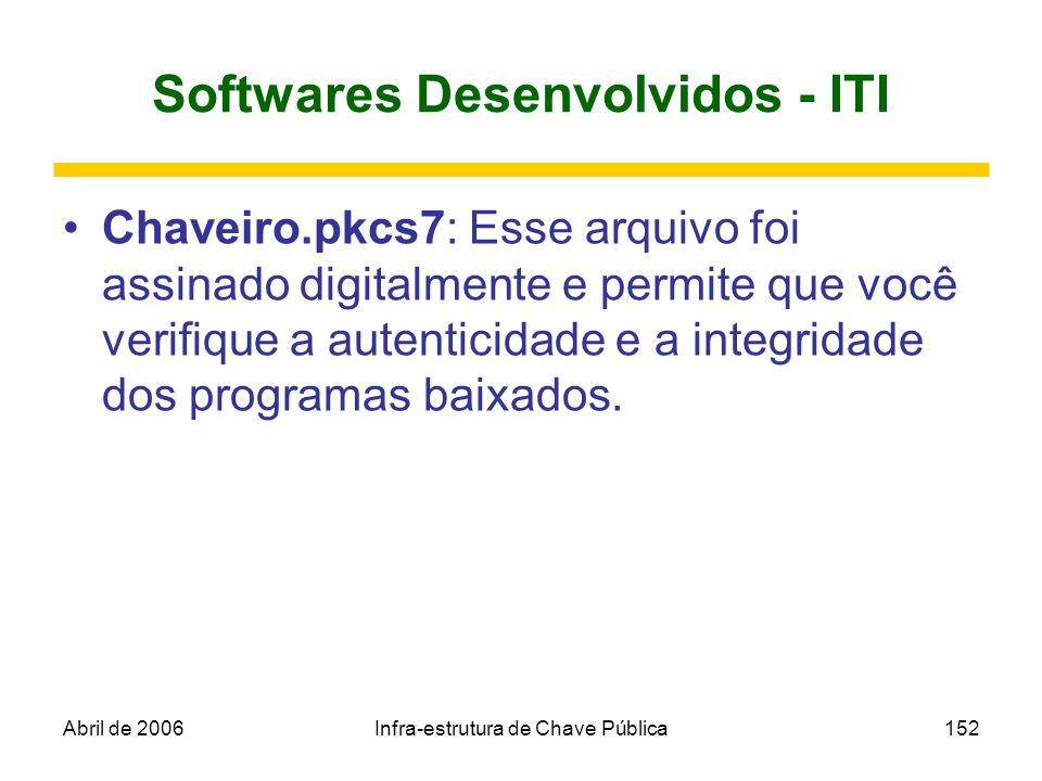 Abril de 2006Infra-estrutura de Chave Pública152 Softwares Desenvolvidos - ITI Chaveiro.pkcs7: Esse arquivo foi assinado digitalmente e permite que vo