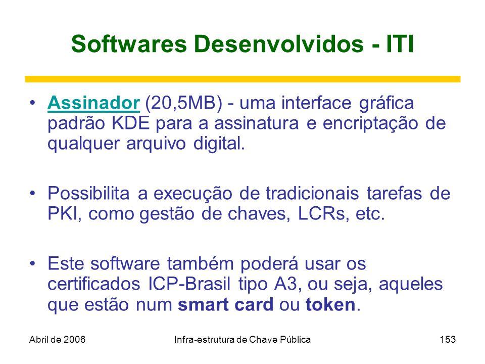 Abril de 2006Infra-estrutura de Chave Pública153 Softwares Desenvolvidos - ITI Assinador (20,5MB) - uma interface gráfica padrão KDE para a assinatura