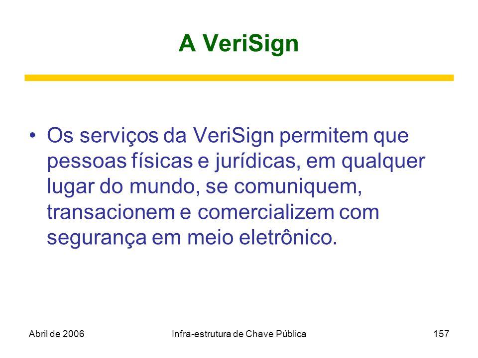 Abril de 2006Infra-estrutura de Chave Pública157 A VeriSign Os serviços da VeriSign permitem que pessoas físicas e jurídicas, em qualquer lugar do mun