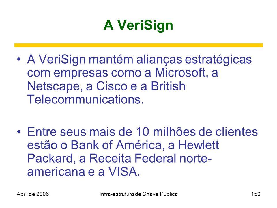 Abril de 2006Infra-estrutura de Chave Pública159 A VeriSign A VeriSign mantém alianças estratégicas com empresas como a Microsoft, a Netscape, a Cisco