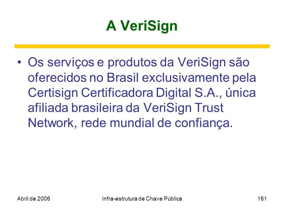 Abril de 2006Infra-estrutura de Chave Pública161 A VeriSign Os serviços e produtos da VeriSign são oferecidos no Brasil exclusivamente pela Certisign