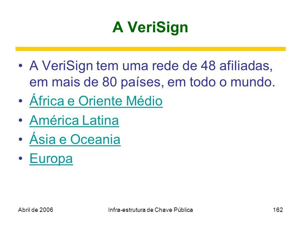 Abril de 2006Infra-estrutura de Chave Pública162 A VeriSign A VeriSign tem uma rede de 48 afiliadas, em mais de 80 países, em todo o mundo. África e O