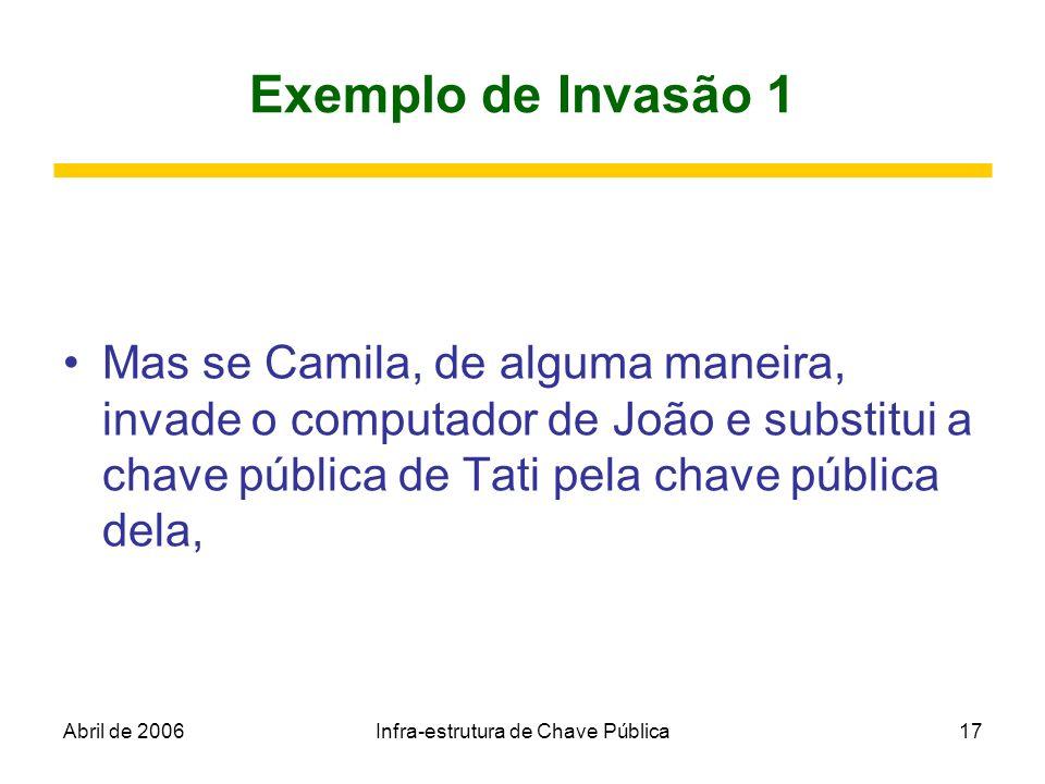 Abril de 2006Infra-estrutura de Chave Pública17 Exemplo de Invasão 1 Mas se Camila, de alguma maneira, invade o computador de João e substitui a chave