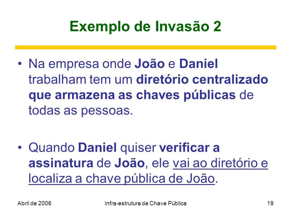 Abril de 2006Infra-estrutura de Chave Pública19 Exemplo de Invasão 2 Na empresa onde João e Daniel trabalham tem um diretório centralizado que armazen