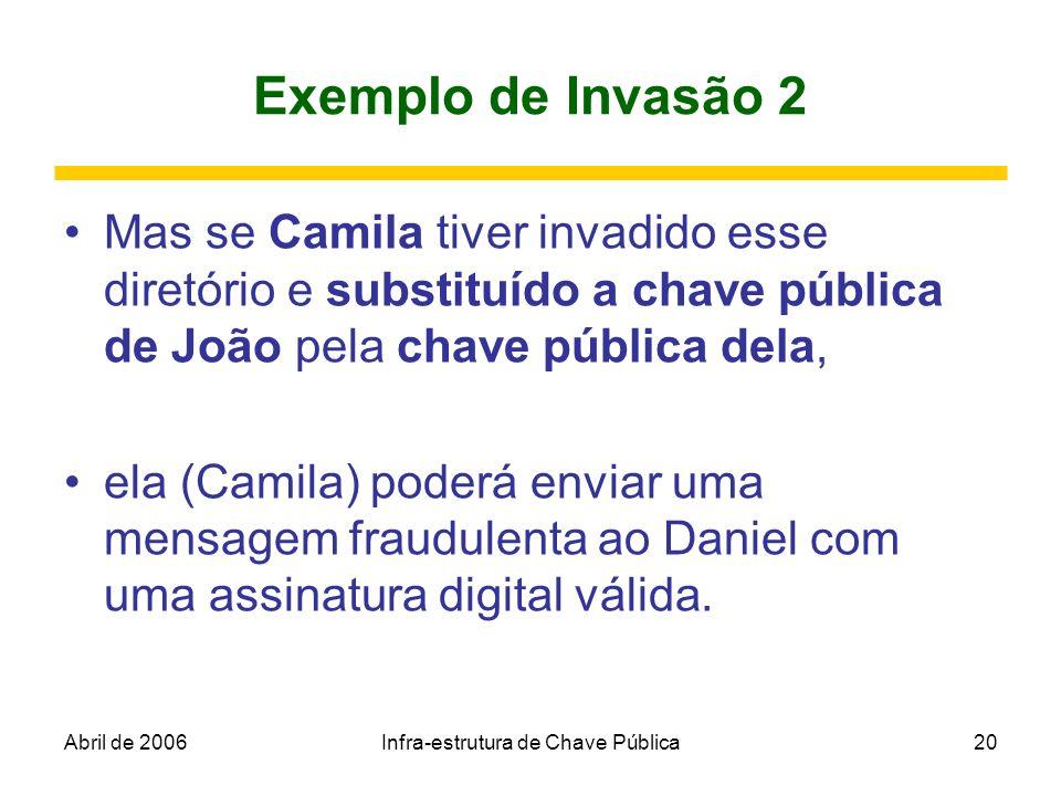 Abril de 2006Infra-estrutura de Chave Pública20 Exemplo de Invasão 2 Mas se Camila tiver invadido esse diretório e substituído a chave pública de João