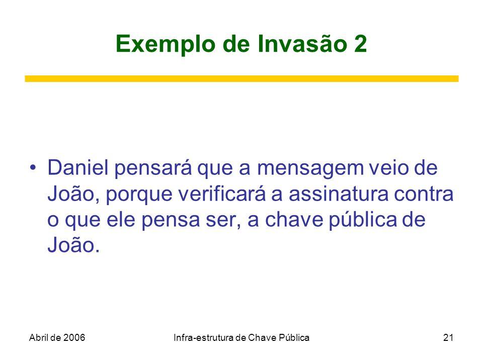 Abril de 2006Infra-estrutura de Chave Pública21 Exemplo de Invasão 2 Daniel pensará que a mensagem veio de João, porque verificará a assinatura contra