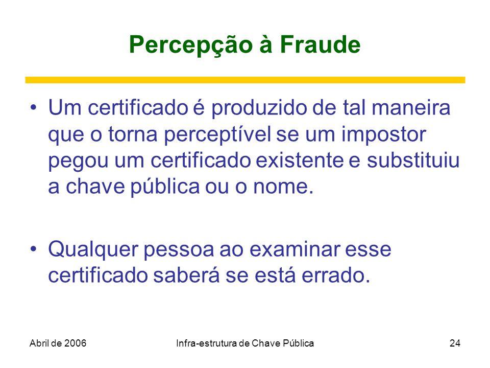 Abril de 2006Infra-estrutura de Chave Pública24 Percepção à Fraude Um certificado é produzido de tal maneira que o torna perceptível se um impostor pe