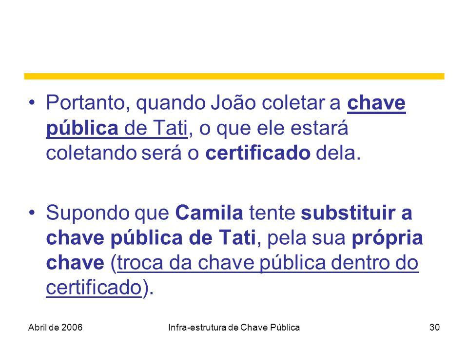 Abril de 2006Infra-estrutura de Chave Pública30 Portanto, quando João coletar a chave pública de Tati, o que ele estará coletando será o certificado d